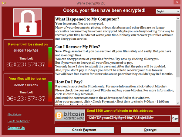 Ex of a WannaCry Ransomware message on a computer.