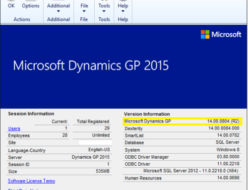 Microsoft Dynamics GP Version