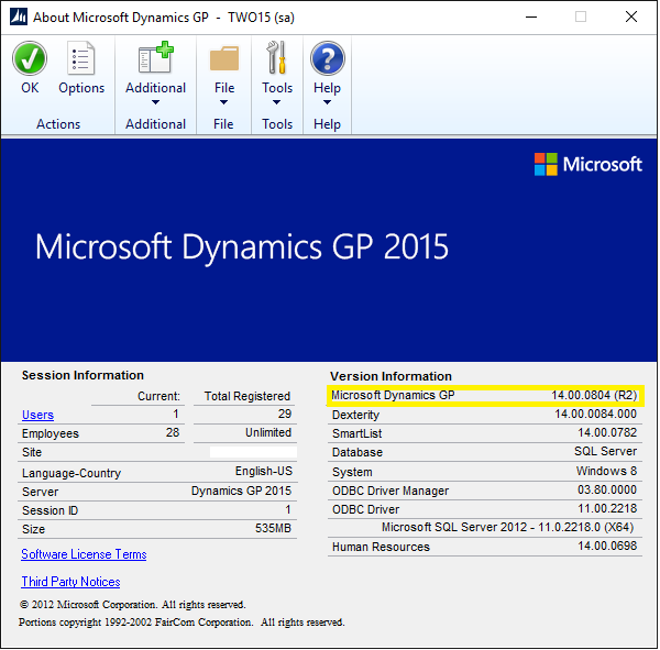 Dynamics GP Build Version