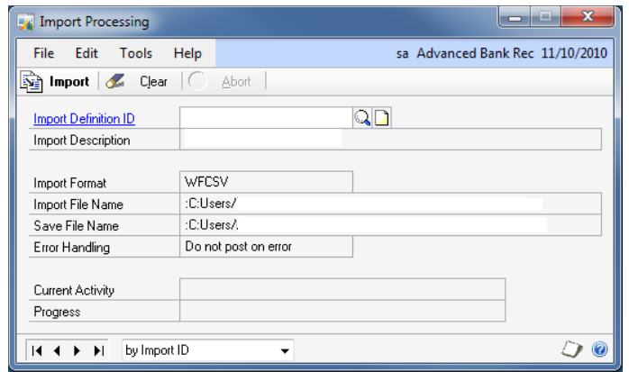 Bank transactions may be manually entered or imported into the Bank Statement Entry window. See Import Format Setup and Import Maintenance Setup for setting up bank statement import definitions.